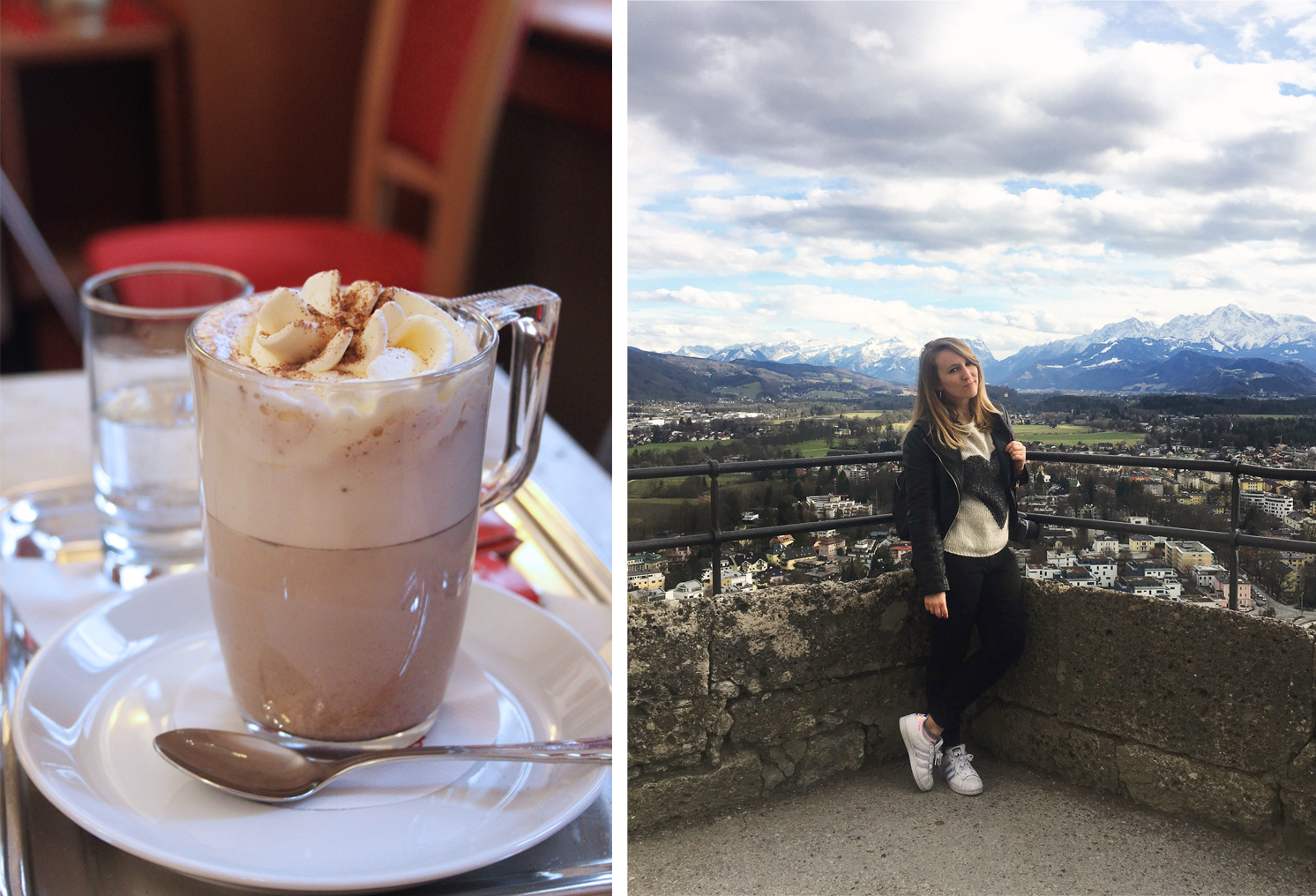Mozart Cafe in Salzburg Austria and Me with Fortress view
