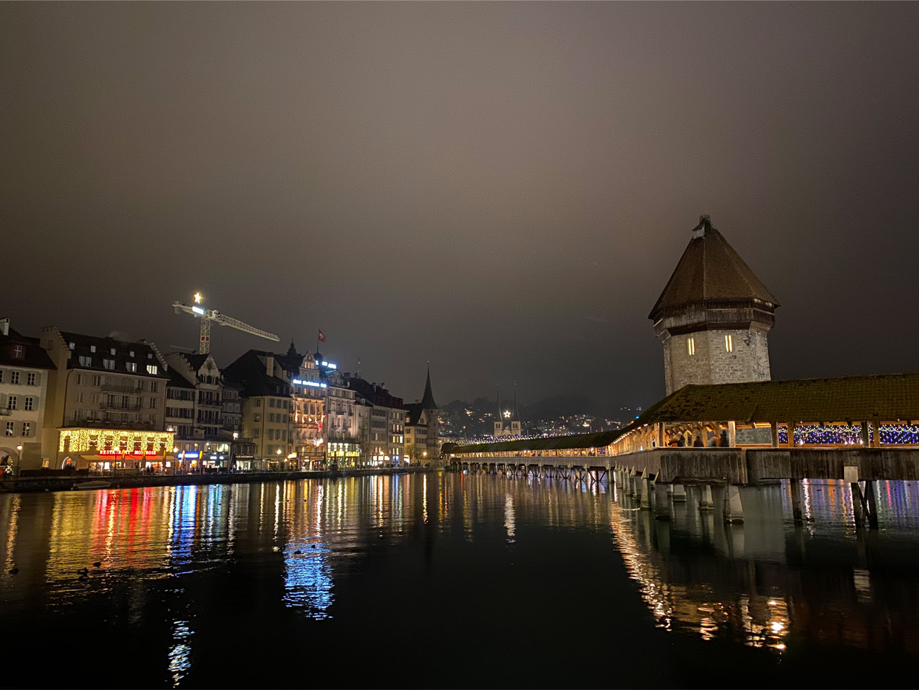 Lucerne night time view chapel bridge