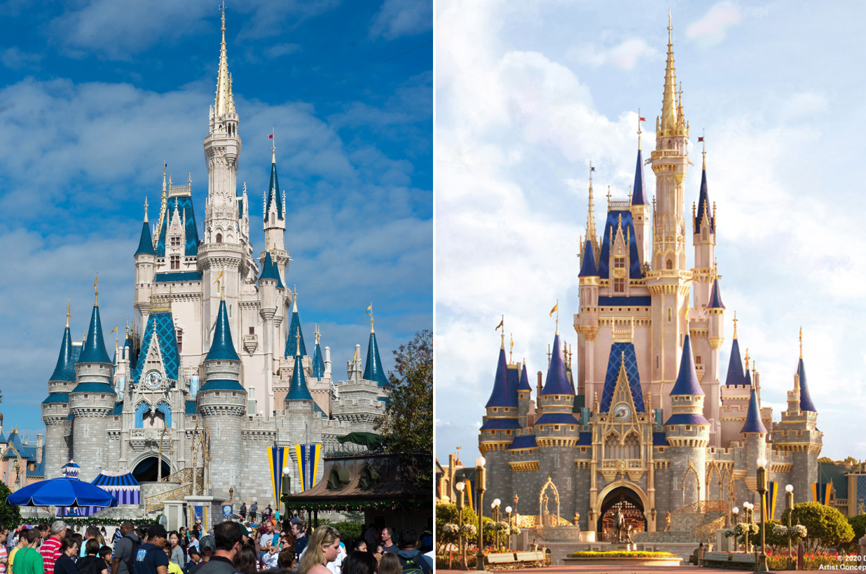 Magic Kingdom Cinderella Castle Update, before and after