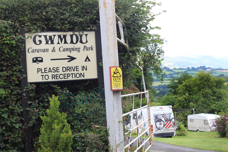 Gwmdu Caravan and Camping Park Sign, Camping in the UK, Wales