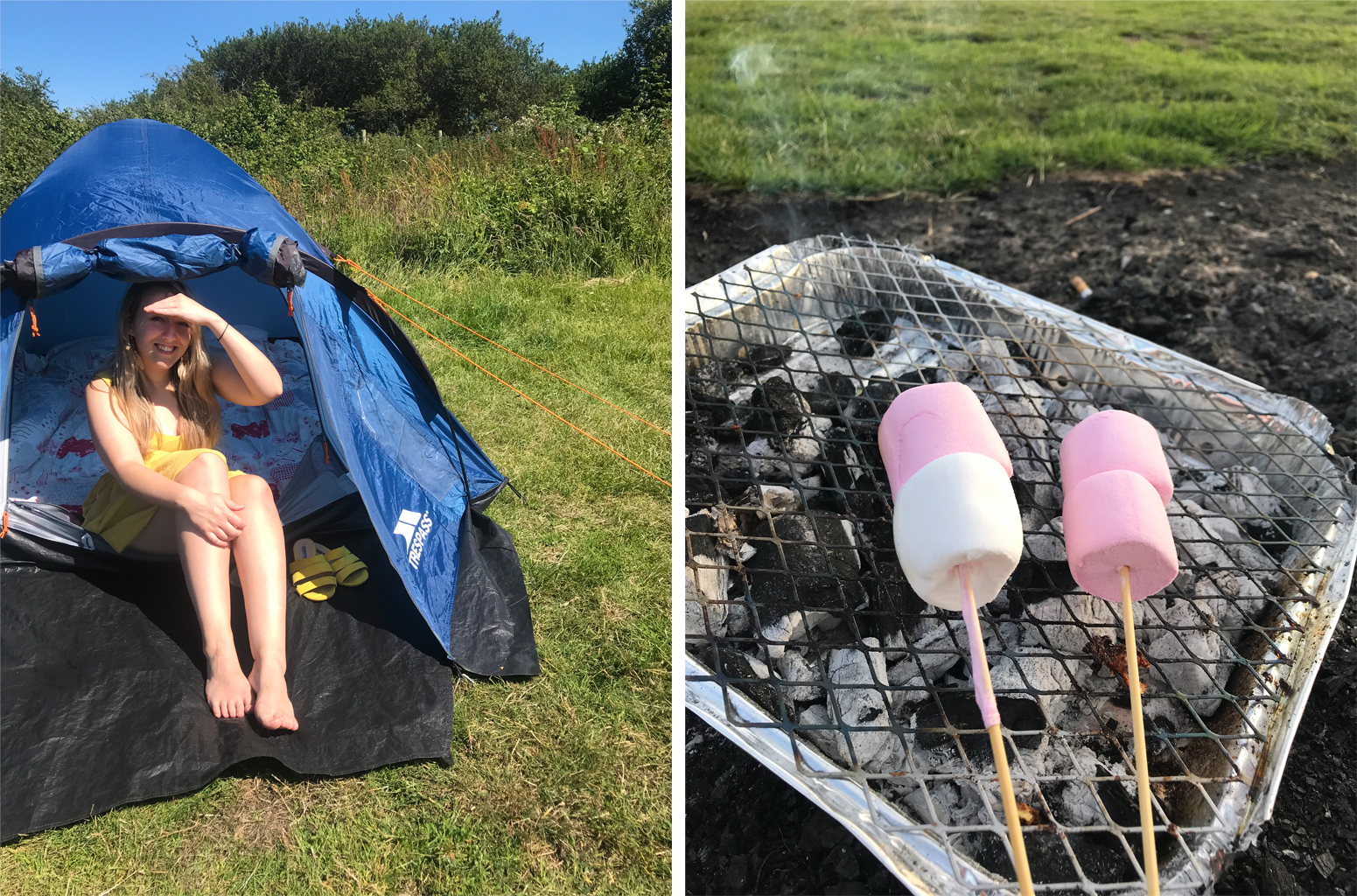 Me camping, tent, disposable bbq, camping bbq